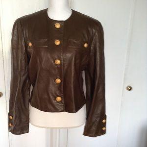 Soft Leather Cropped Jacket Size 10